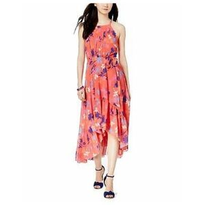 VinceCamuto Printed Chiffon Halter High-Low Dress